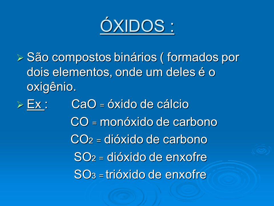 ÓXIDOS : São compostos binários ( formados por dois elementos, onde um deles é o oxigênio. Ex : CaO = óxido de cálcio.