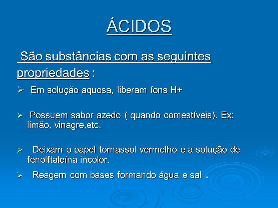 ÁCIDOS São substâncias com as seguintes propriedades :