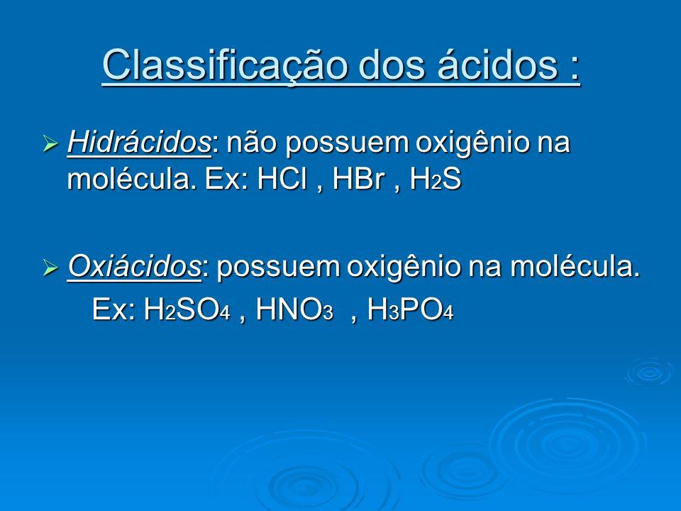 Classificação dos ácidos :