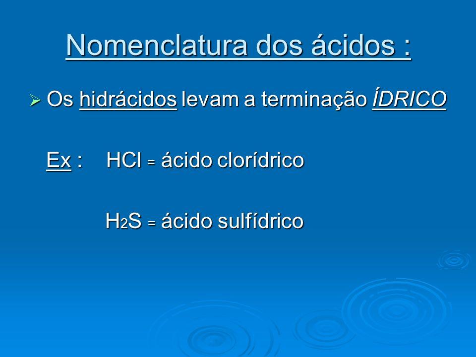 Nomenclatura dos ácidos :
