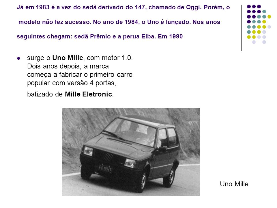 Já em 1983 é a vez do sedã derivado do 147, chamado de Oggi