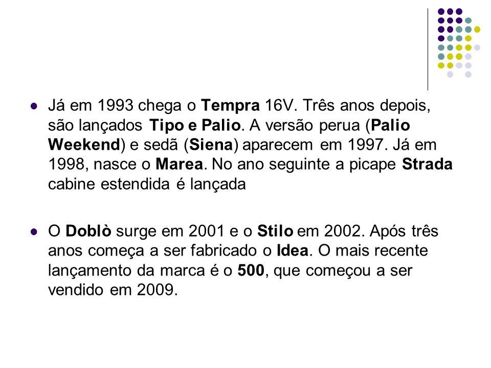 Já em 1993 chega o Tempra 16V. Três anos depois, são lançados Tipo e Palio. A versão perua (Palio Weekend) e sedã (Siena) aparecem em 1997. Já em 1998, nasce o Marea. No ano seguinte a picape Strada cabine estendida é lançada