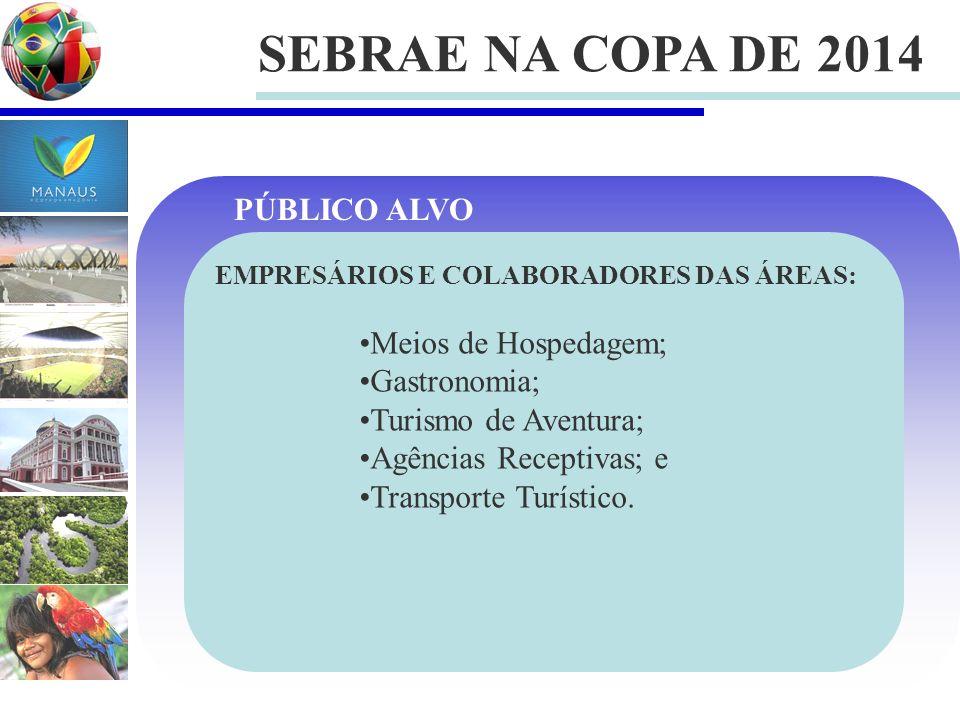 SEBRAE NA COPA DE 2014 PÚBLICO ALVO Meios de Hospedagem; Gastronomia;