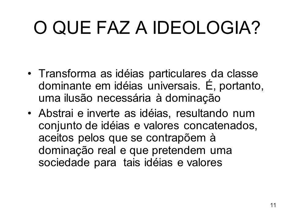 O QUE FAZ A IDEOLOGIA Transforma as idéias particulares da classe dominante em idéias universais. É, portanto, uma ilusão necessária à dominação.