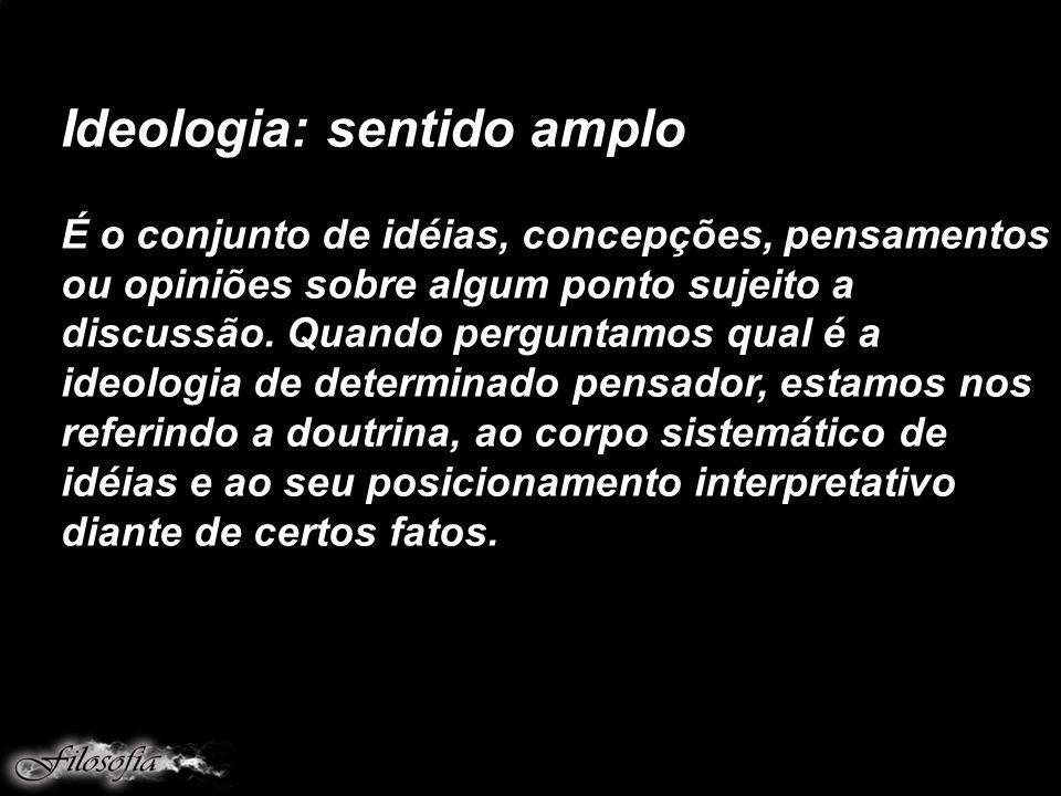 Ideologia: sentido amplo É o conjunto de idéias, concepções, pensamentos ou opiniões sobre algum ponto sujeito a discussão.