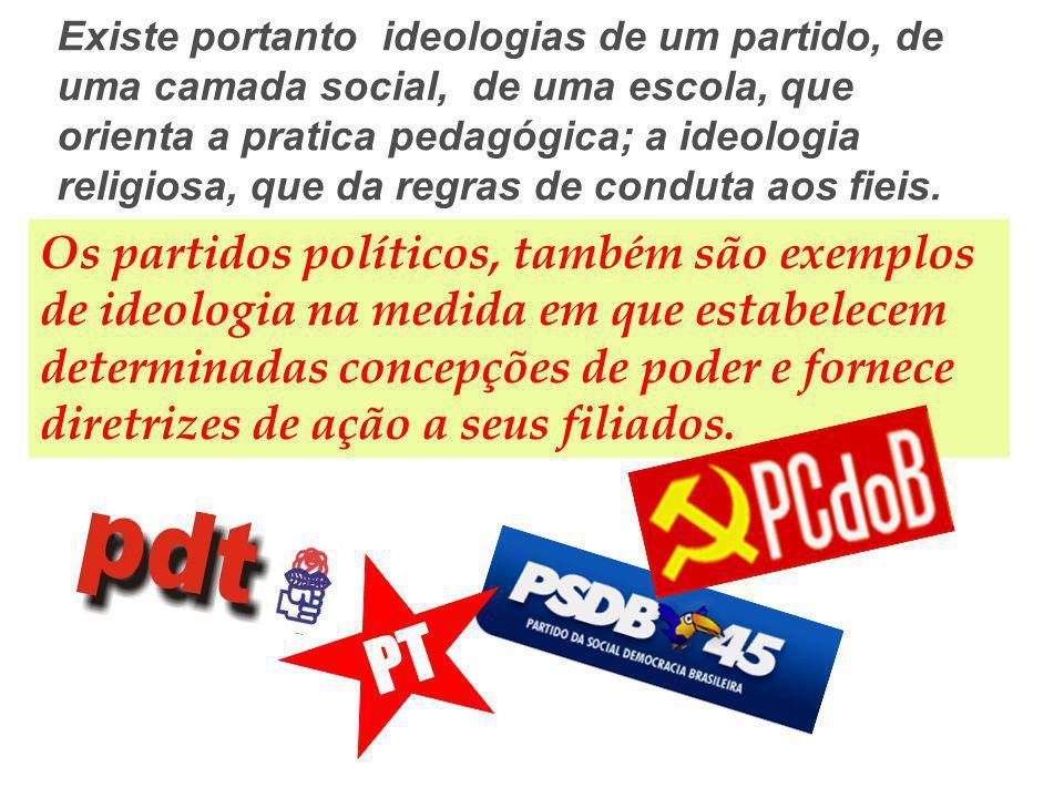 Existe portanto ideologias de um partido, de uma camada social, de uma escola, que orienta a pratica pedagógica; a ideologia religiosa, que da regras de conduta aos fieis.