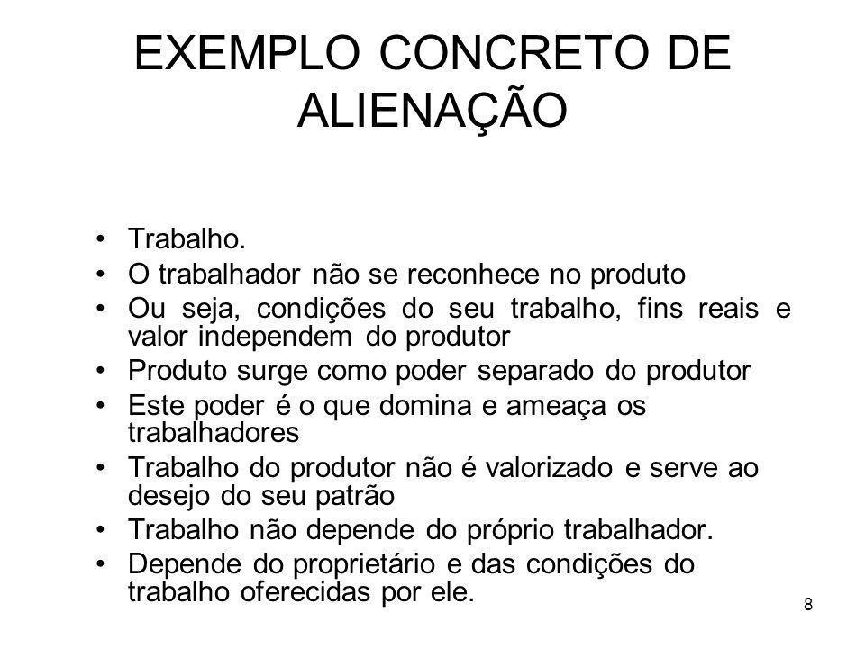 EXEMPLO CONCRETO DE ALIENAÇÃO