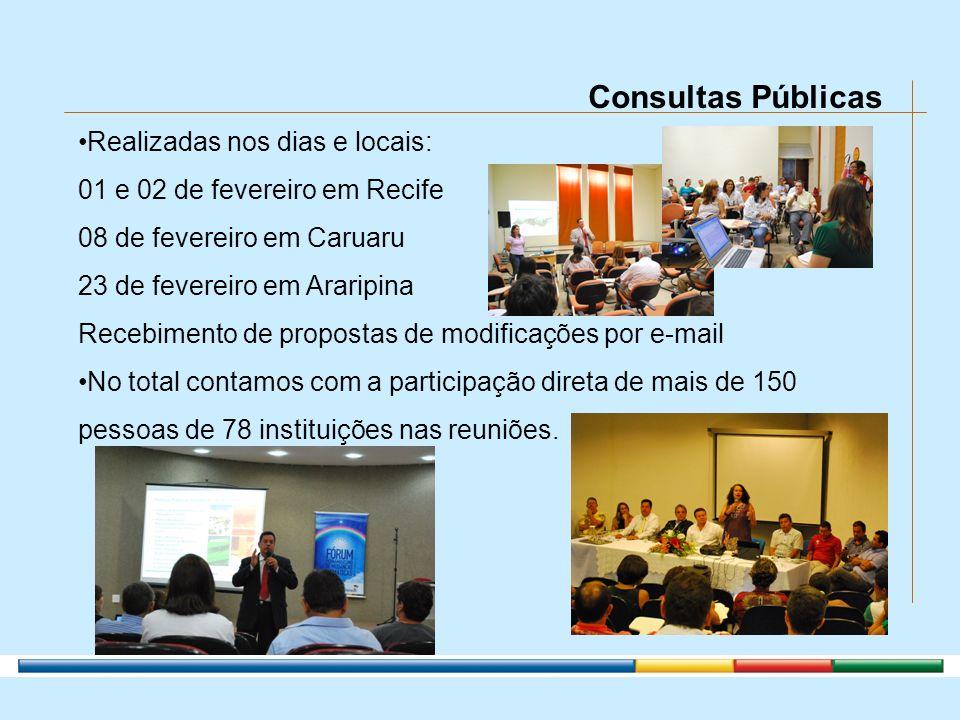 Consultas Públicas Realizadas nos dias e locais: