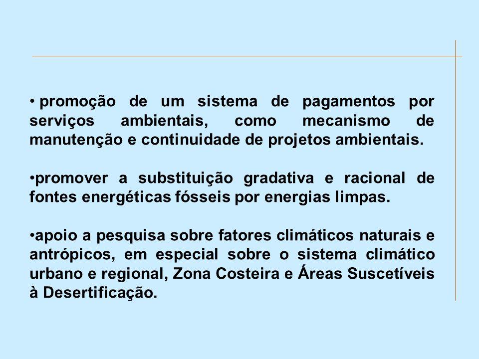 promoção de um sistema de pagamentos por serviços ambientais, como mecanismo de manutenção e continuidade de projetos ambientais.