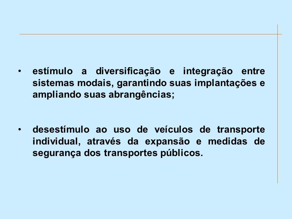 estímulo a diversificação e integração entre sistemas modais, garantindo suas implantações e ampliando suas abrangências;
