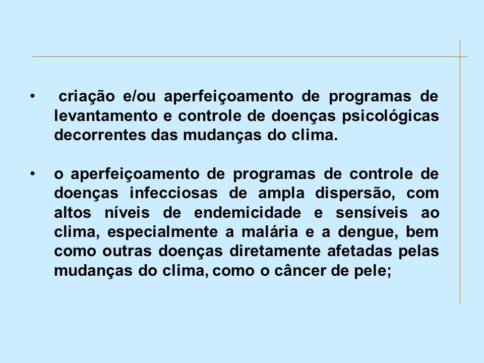 criação e/ou aperfeiçoamento de programas de levantamento e controle de doenças psicológicas decorrentes das mudanças do clima.