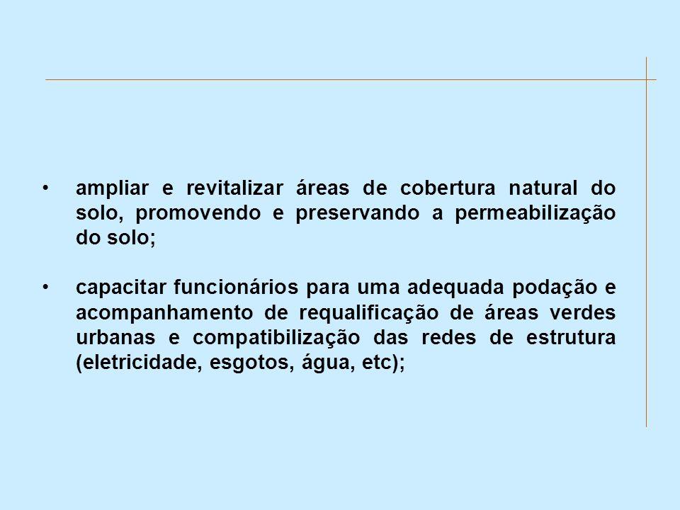 ampliar e revitalizar áreas de cobertura natural do solo, promovendo e preservando a permeabilização do solo;