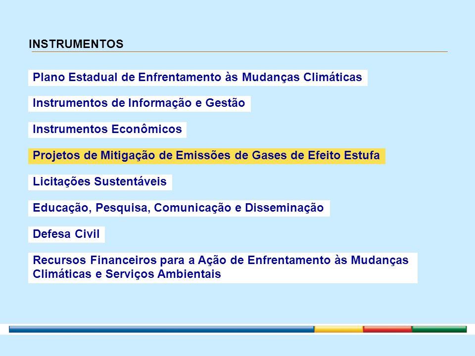 INSTRUMENTOS Plano Estadual de Enfrentamento às Mudanças Climáticas. Instrumentos de Informação e Gestão.
