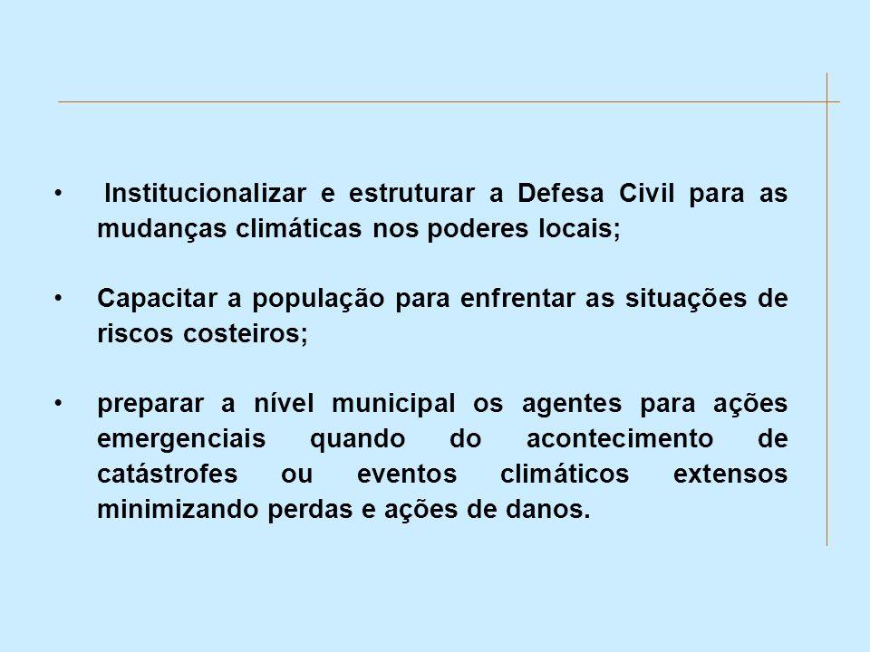 Institucionalizar e estruturar a Defesa Civil para as mudanças climáticas nos poderes locais;