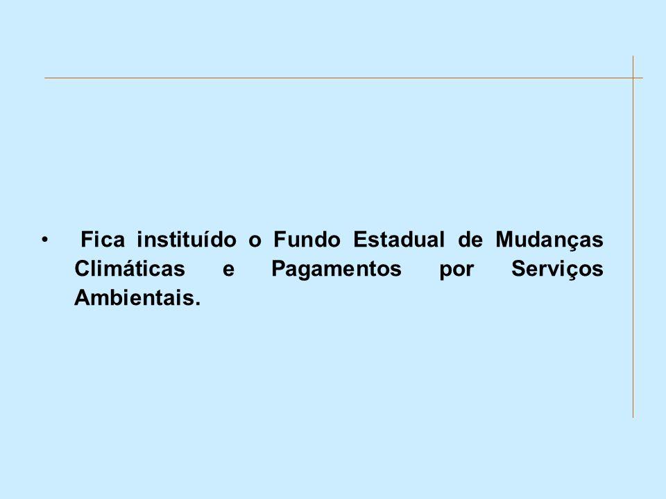 Fica instituído o Fundo Estadual de Mudanças Climáticas e Pagamentos por Serviços Ambientais.