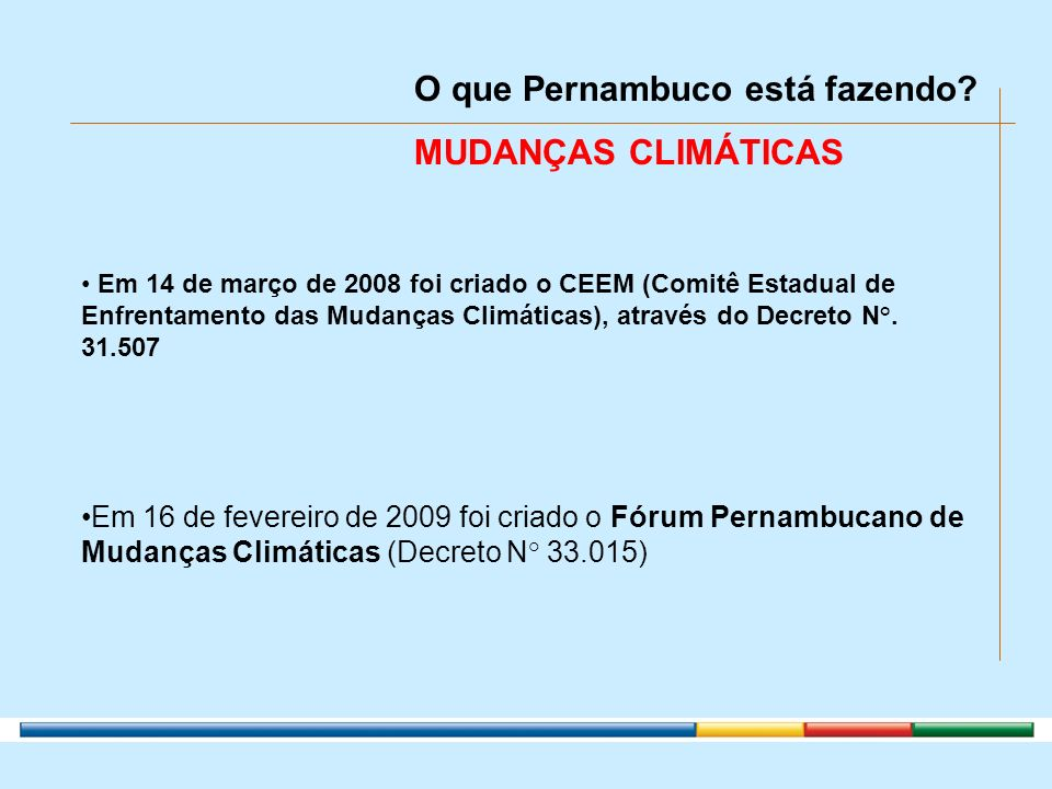 O que Pernambuco está fazendo MUDANÇAS CLIMÁTICAS