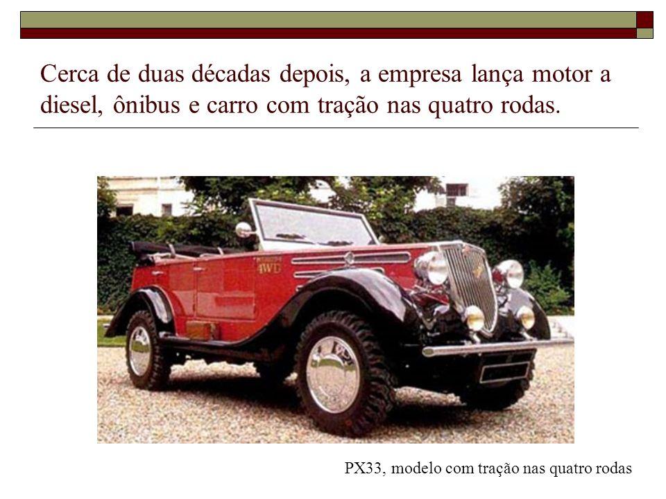 Cerca de duas décadas depois, a empresa lança motor a diesel, ônibus e carro com tração nas quatro rodas.