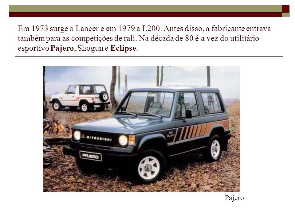 Em 1973 surge o Lancer e em 1979 a L200. Antes disso, a fabricante entrava também para as competições de rali. Na década de 80 é a vez do utilitário-esportivo Pajero, Shogun e Eclipse.