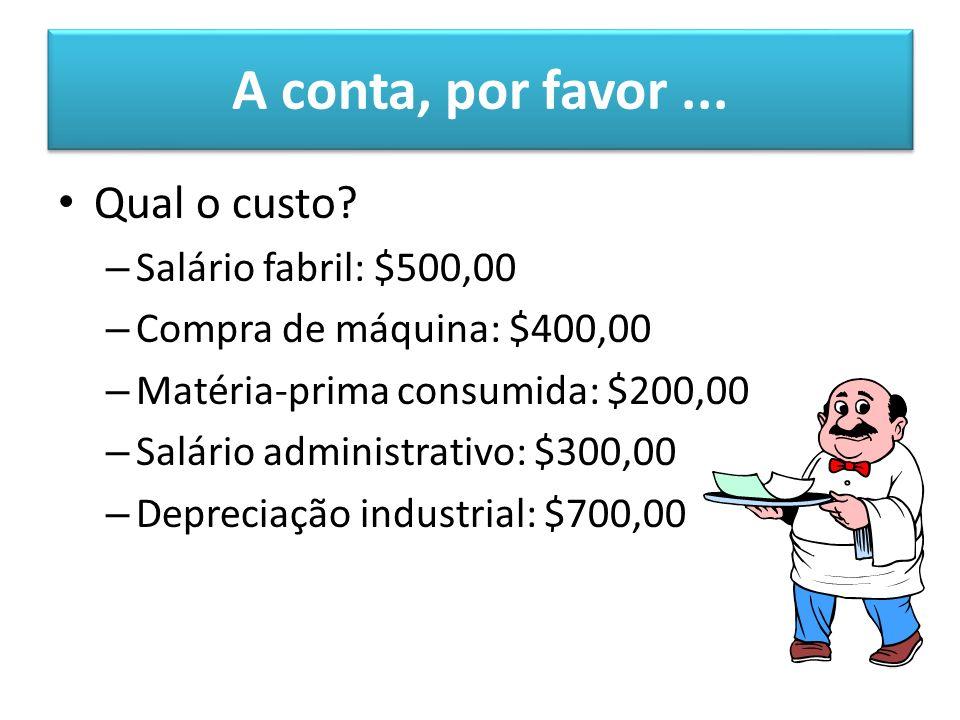 A conta, por favor ... Qual o custo Salário fabril: $500,00