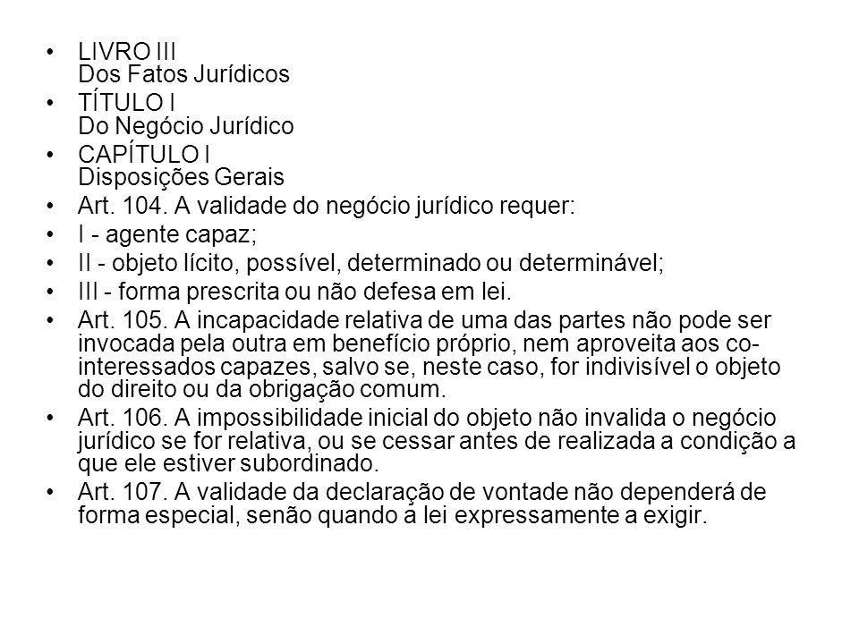 LIVRO III Dos Fatos Jurídicos
