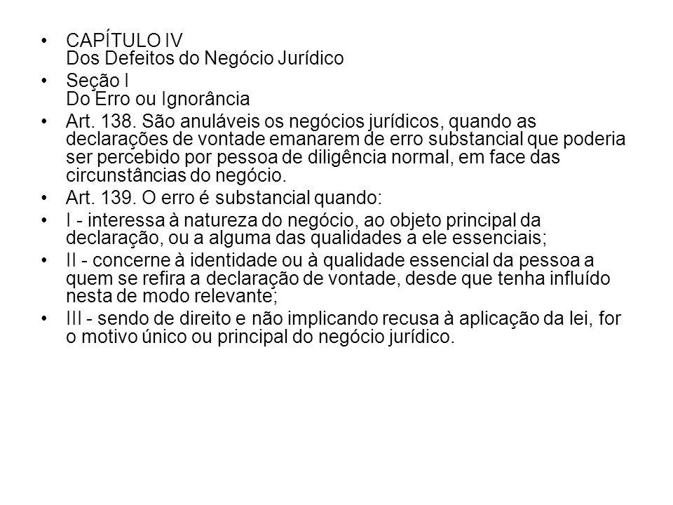 CAPÍTULO IV Dos Defeitos do Negócio Jurídico