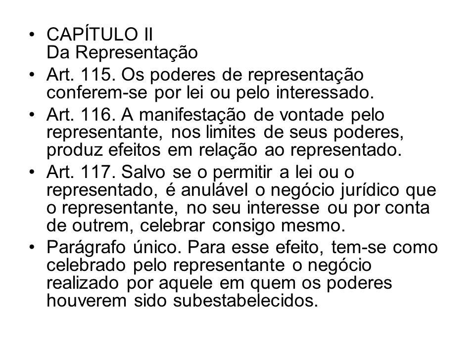 CAPÍTULO II Da Representação