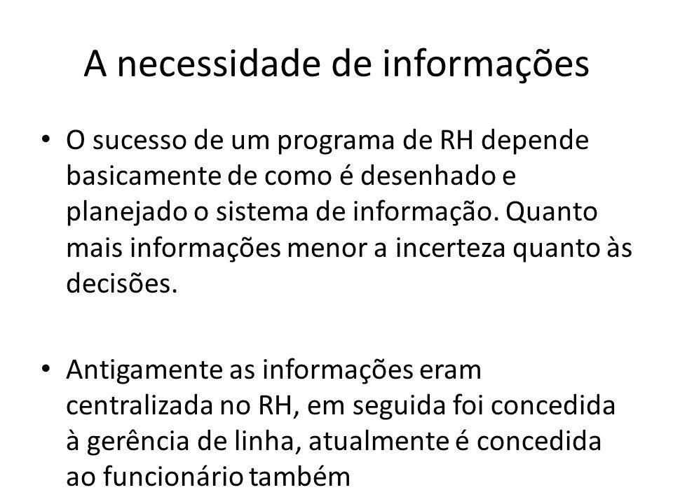 A necessidade de informações