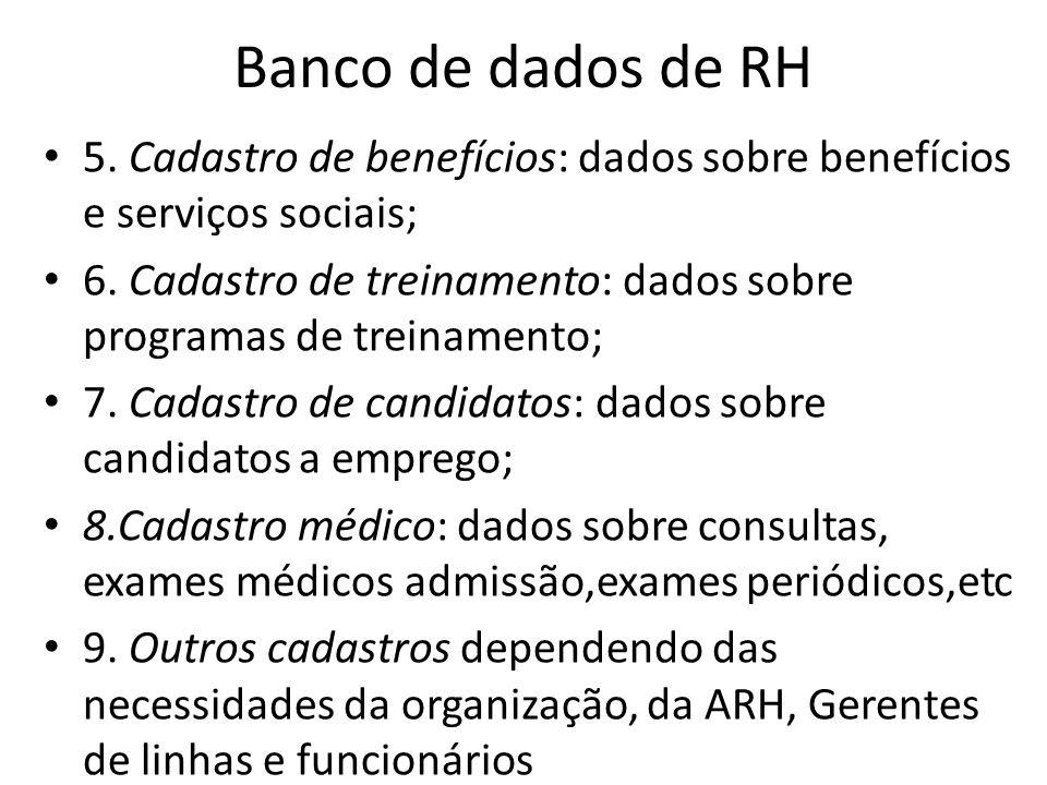 Banco de dados de RH 5. Cadastro de benefícios: dados sobre benefícios e serviços sociais;