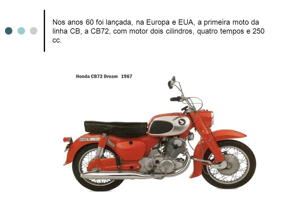 Nos anos 60 foi lançada, na Europa e EUA, a primeira moto da linha CB, a CB72, com motor dois cilindros, quatro tempos e 250 cc.