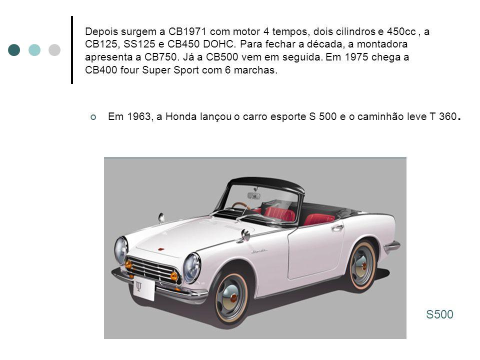 Depois surgem a CB1971 com motor 4 tempos, dois cilindros e 450cc , a CB125, SS125 e CB450 DOHC. Para fechar a década, a montadora apresenta a CB750. Já a CB500 vem em seguida. Em 1975 chega a CB400 four Super Sport com 6 marchas.