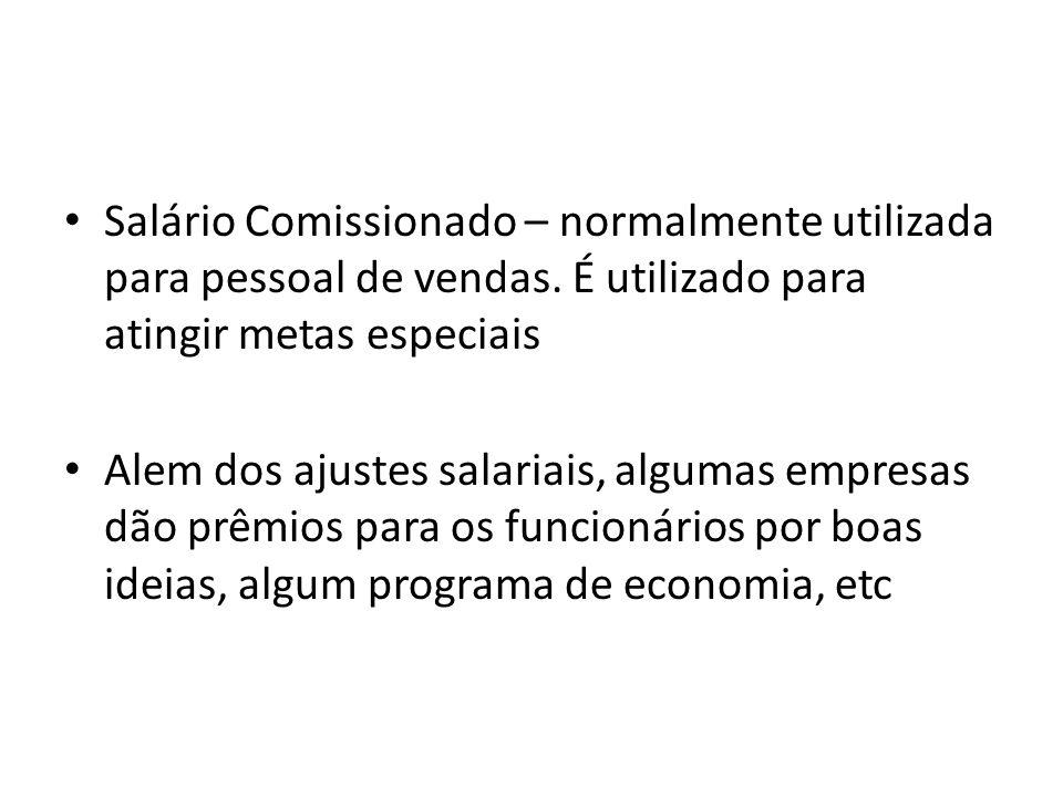 Salário Comissionado – normalmente utilizada para pessoal de vendas
