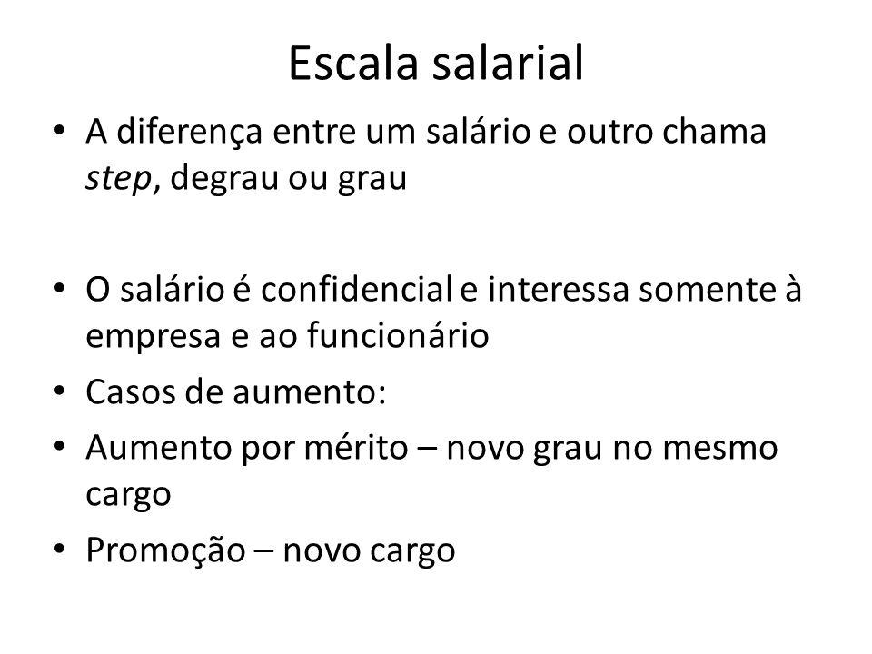 Escala salarial A diferença entre um salário e outro chama step, degrau ou grau.