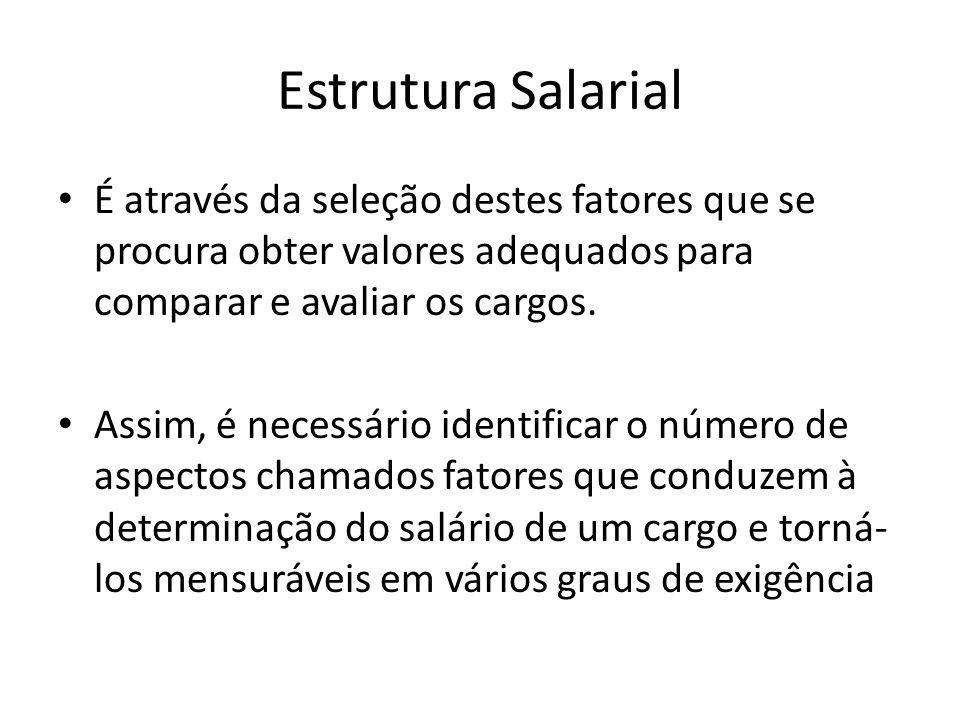 Estrutura Salarial É através da seleção destes fatores que se procura obter valores adequados para comparar e avaliar os cargos.