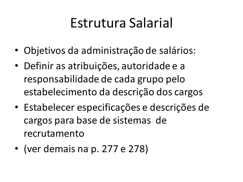 Estrutura Salarial Objetivos da administração de salários: