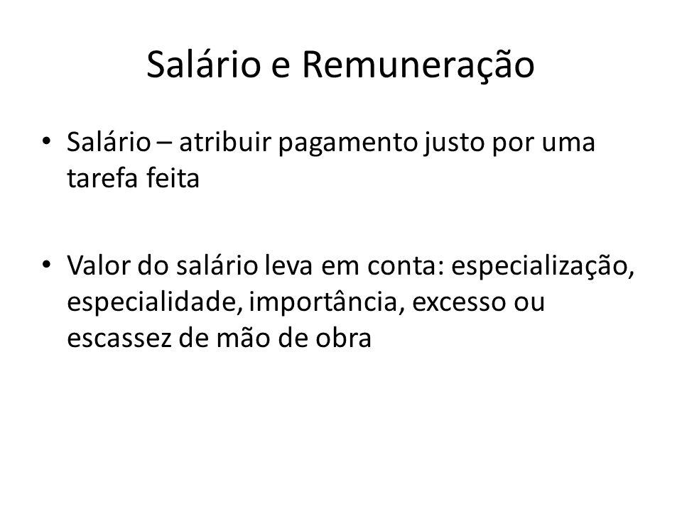 Salário e Remuneração Salário – atribuir pagamento justo por uma tarefa feita.
