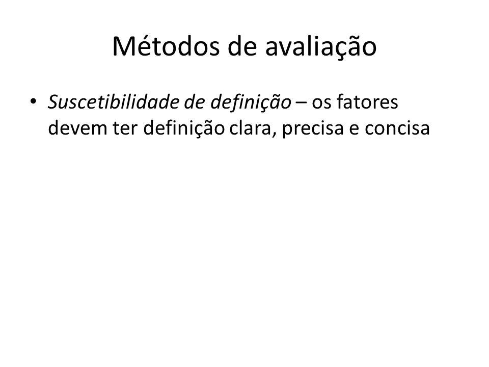 Métodos de avaliação Suscetibilidade de definição – os fatores devem ter definição clara, precisa e concisa.