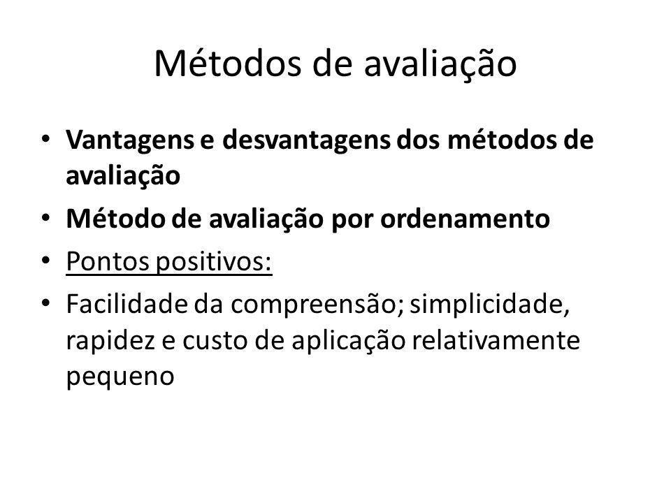 Métodos de avaliação Vantagens e desvantagens dos métodos de avaliação