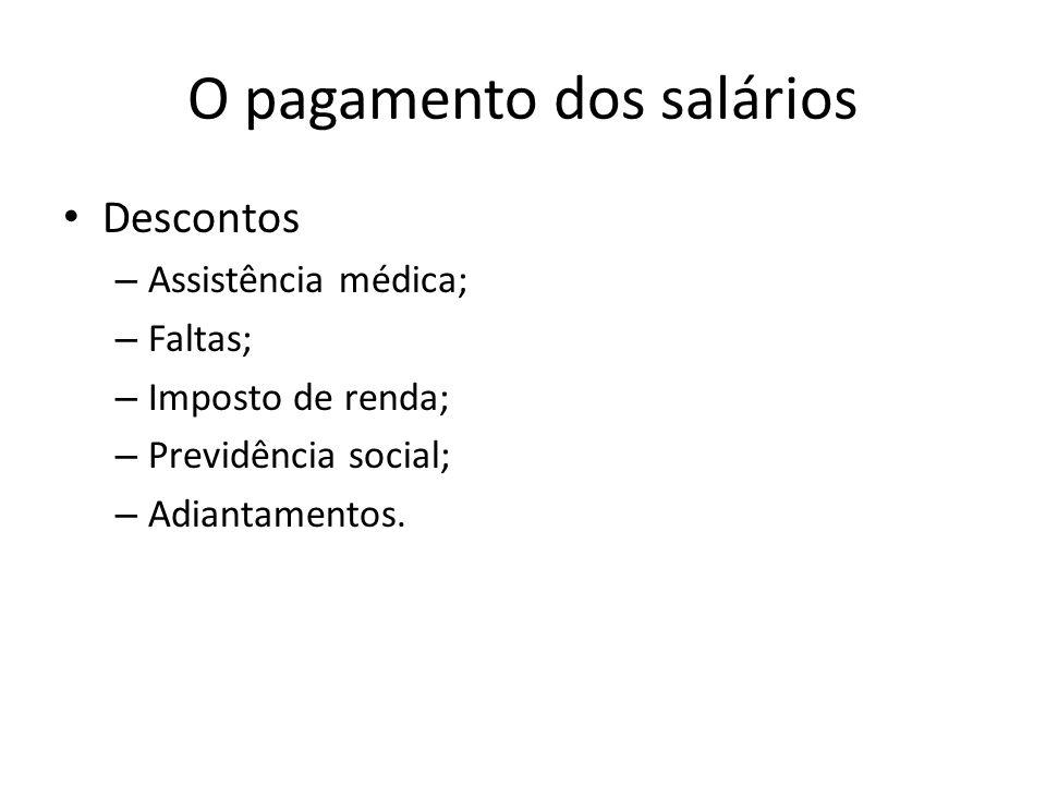 O pagamento dos salários