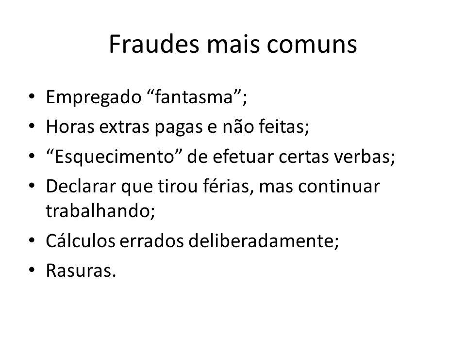Fraudes mais comuns Empregado fantasma ;