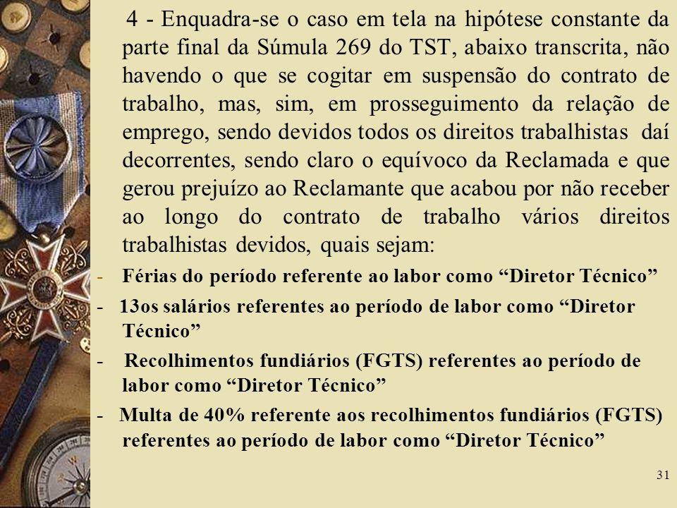 Férias do período referente ao labor como Diretor Técnico