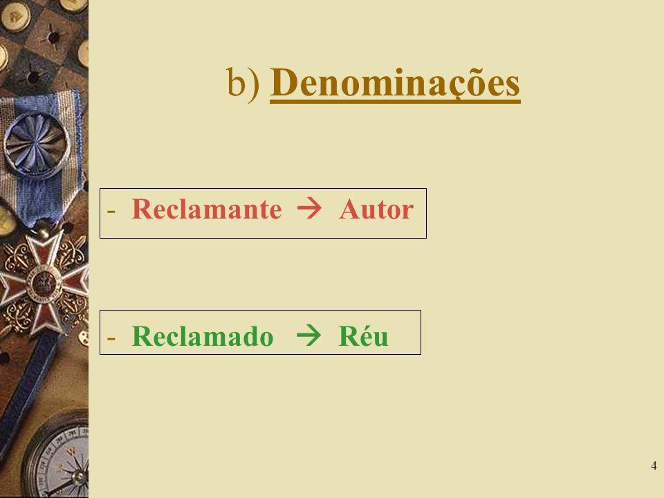 b) Denominações Reclamante  Autor Reclamado  Réu
