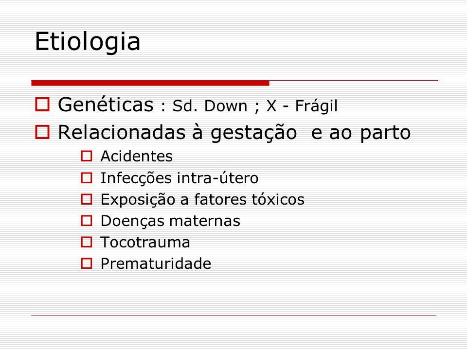 Etiologia Genéticas : Sd. Down ; X - Frágil