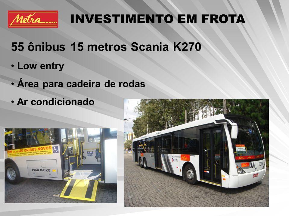 INVESTIMENTO EM FROTA 55 ônibus 15 metros Scania K270 Low entry