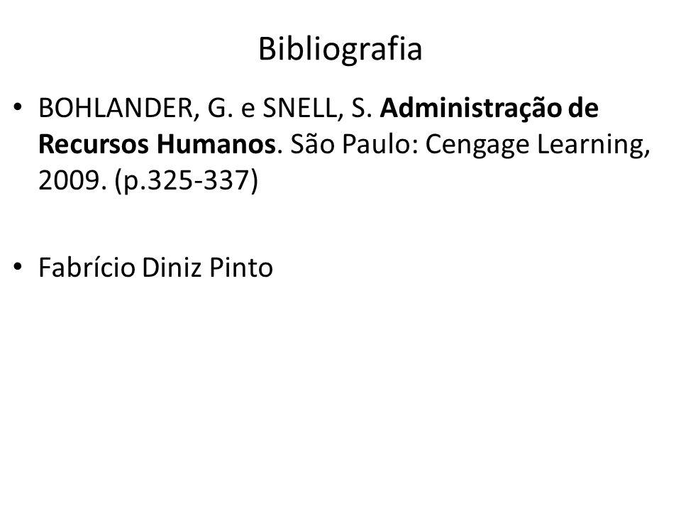 Bibliografia BOHLANDER, G. e SNELL, S. Administração de Recursos Humanos. São Paulo: Cengage Learning, 2009. (p.325-337)