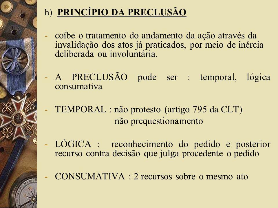h) PRINCÍPIO DA PRECLUSÃO