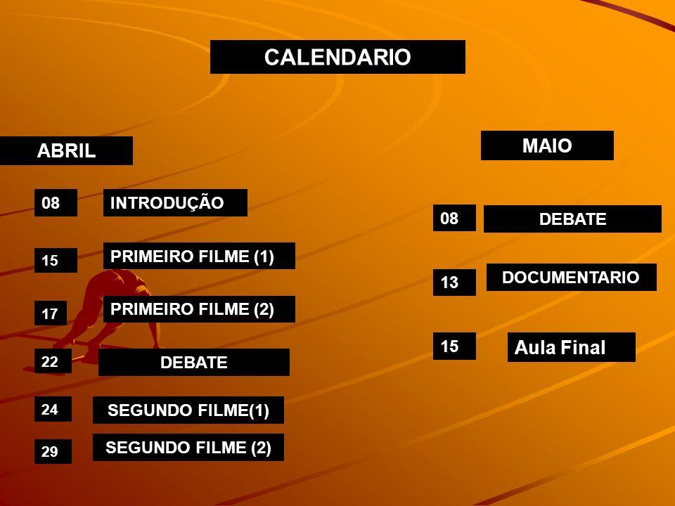 CALENDARIO MAIO ABRIL Aula Final 08 INTRODUÇÃO 08 DEBATE