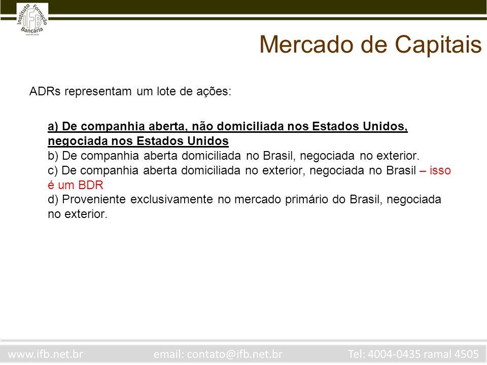 Mercado de Capitais ADRs representam um lote de ações: