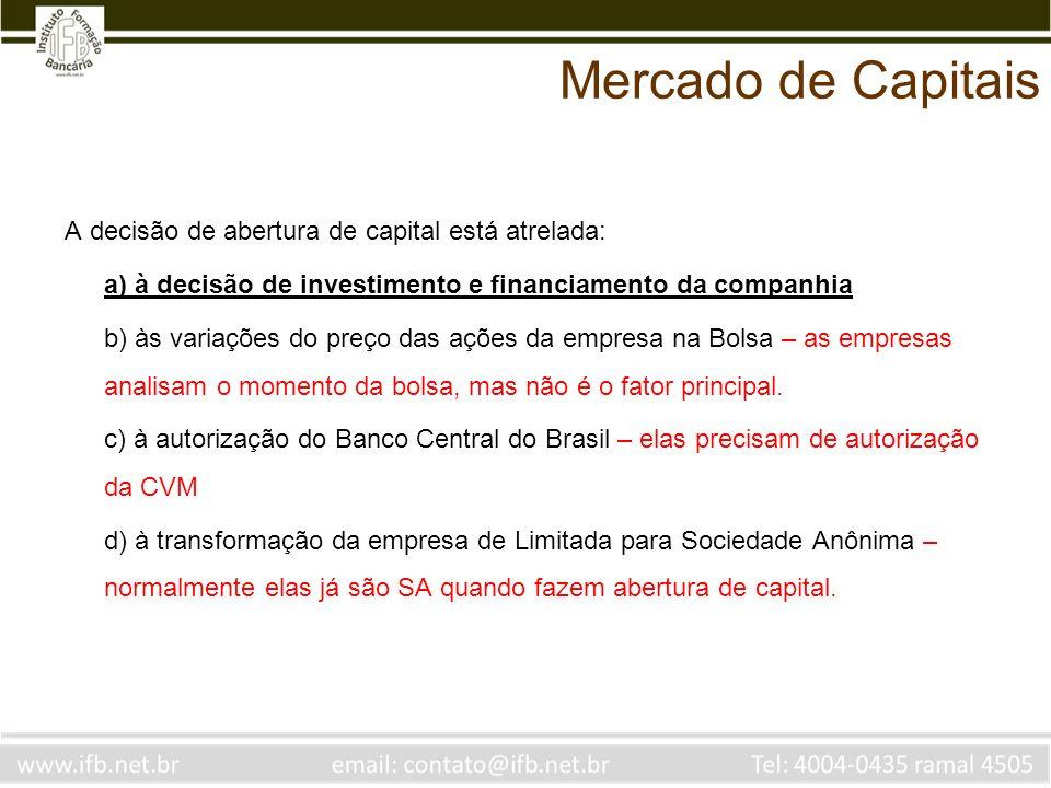 Mercado de Capitais A decisão de abertura de capital está atrelada: