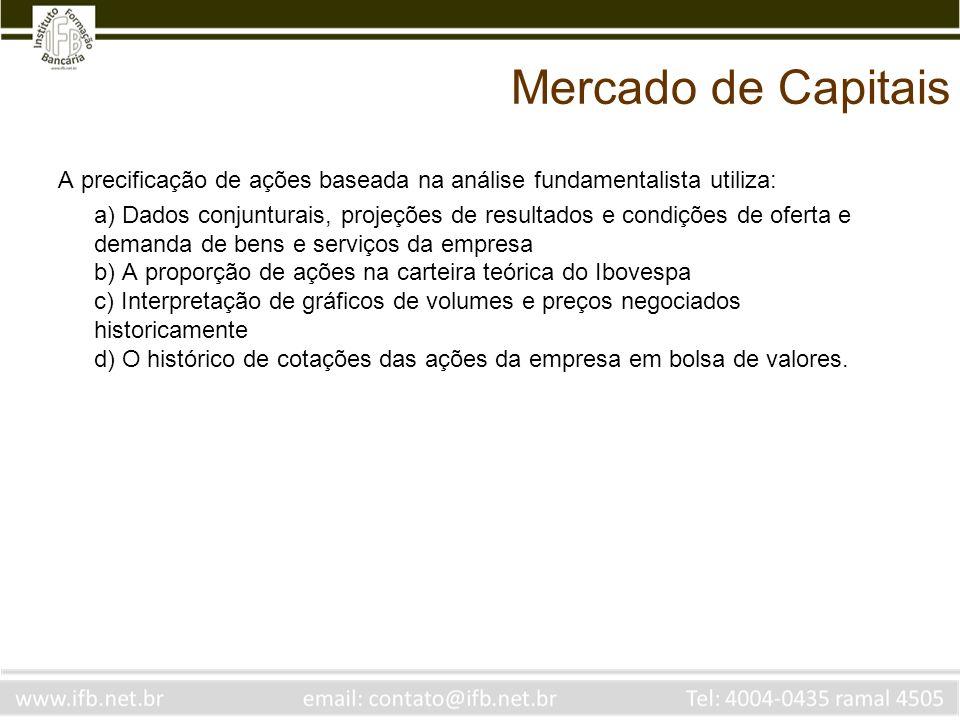Mercado de Capitais A precificação de ações baseada na análise fundamentalista utiliza: