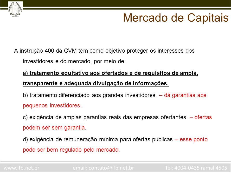 Mercado de Capitais A instrução 400 da CVM tem como objetivo proteger os interesses dos investidores e do mercado, por meio de: